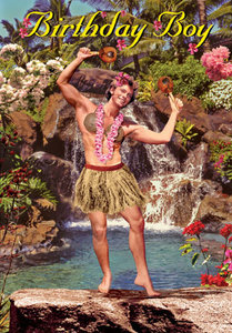 Birthday Hula Boy Individual Postcard by Max Hernn