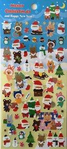 Merry Christmas Seal Sticker | Blue Santa Tree