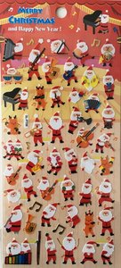 Merry Christmas Seal Sticker   Red Santa Piano