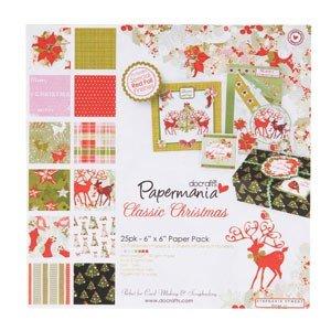 Papermania 6x6 paper & die cut pack   Classic Christmas (25pk)