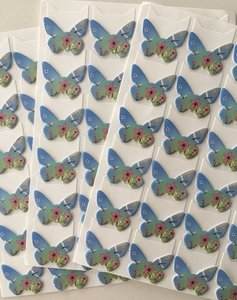 Butterfly Shaped Photo Corner Stickers | Blue with Dragonfly