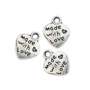 Tibetan Silver Plated Made with Love Heart Charms Pendants