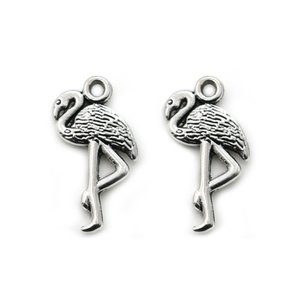 Antique Silver Plated Flamingo Charm Pendant