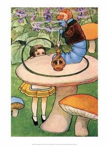 Postcard Alice in Wonderland   Blue Caterpillar