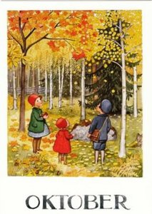 Elsa Beskow Postcard | October