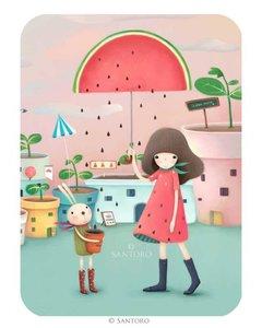 Santoro Eclectic Collection Double Postcard Kori Kumi Cards | Melon Shower