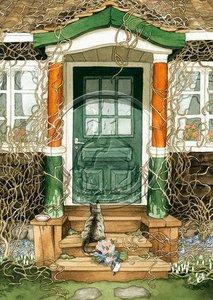 Inge Look Nr. 101 Postcards Garden | Cat at a door