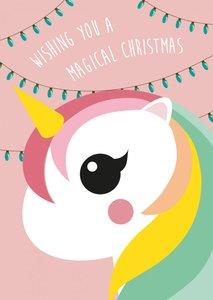 Studio Inktvis Postcard   Wishing you a magical christmas Unicorn
