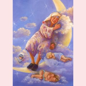 Postcard Fantasy Judy Mastrangelo   Man in the moon sleeping