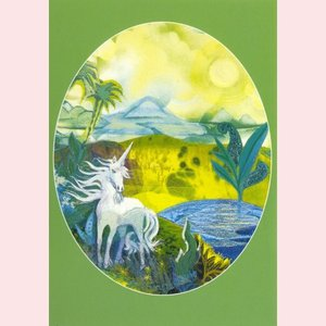 Postcard Roelien de Lange| Unicorn in green