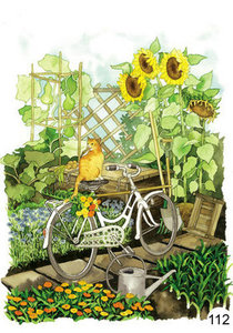Inge Look Nr. 112 Postcards Garden   Cat on a bicycle