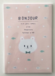 Bonjour Letter Paper Pad | Pink Bear and Fish