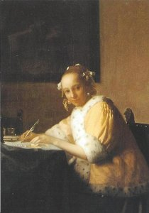 Museum Cards Postcard | Lady in yellow writing a letter