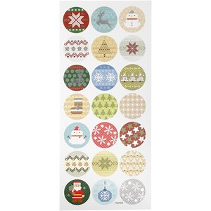 Round Seal Sticker with Glitter Foil | Christmas Embrodery