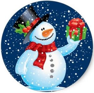 Sealing Stamp Stickers X-mas | Snowman holding gift