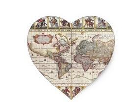12 Heart Sealing Stamp Stickers | Antique Old World Map