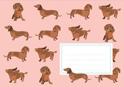 Envelope Set C6 - Dachshund (crissXcross)
