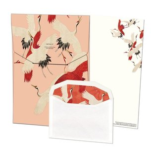 Writing Set | Woman haori with Red and White Cranes