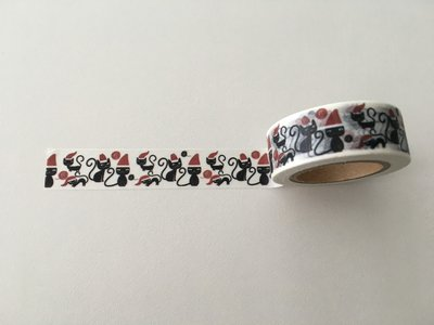 Christmas Washi Masking Tape | Black Cats with Christmas Hats