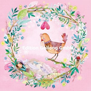 Mila Marquis Postcard | Flower wreath with bird and elf