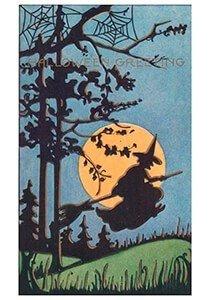Victorian Halloween Postcard | A.N.B. - Heks vliegt op een bezemsteel