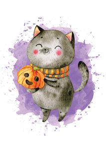 Postcard LittleLeftyLou   Halloween Cat