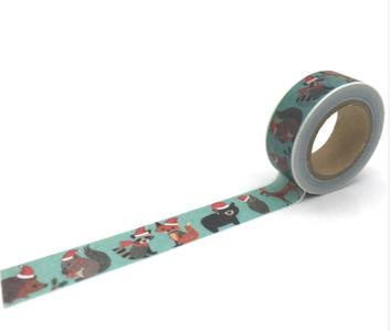 Christmas Washi Masking Tape   Animals with Christmas Hats