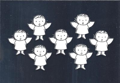 Nijntje Miffy Postcards | Engeltjes zilver (White on Silver)