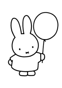 Nijntje Miffy Postcards | Nijn met Ballon (Silver on White)