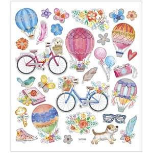 Seal Sticker with Glitter Foil | Bicycles and Hot Air Balloons