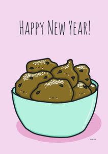 Tamara Boon Illustrations Postcard | Happy New Year Deep Fryed Doughnut Balls