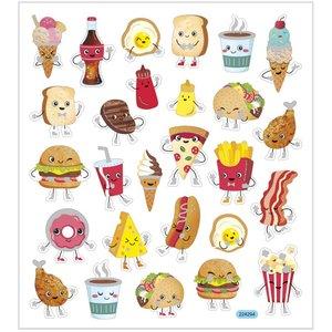 Aufkleber mit Silberfolie | kawaii fast food