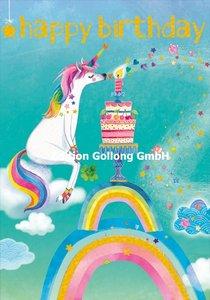 Mila Marquis Double Card   Happy Birthday - Unicorn