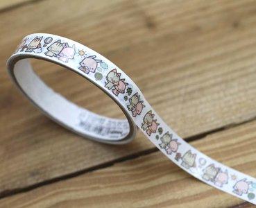 Happy Go Lucky Meow Medium Adhesive PVC Deco Tape | White