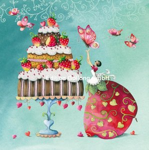 Nina Chen Postcard | Woman with strawberry pie