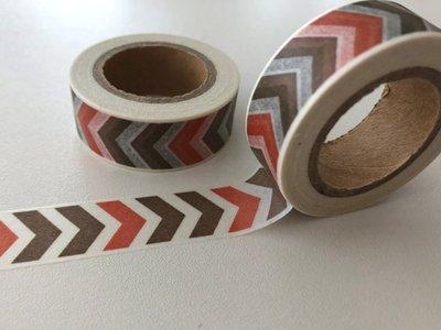 Washi Masking Tape | Brown/Red Chevron