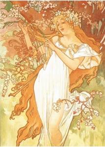 Postcard Tushita Fine Arts | Alphonse Mucha - Spring, 1896