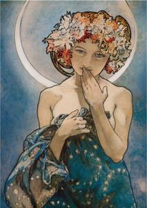 Postcard Tushita Fine Arts | Alphonse Mucha - The Moon and the Stars