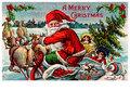 Postcard | Kerstman op slee met daarachter kinderen