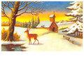 Postcard | Sneeuwlandschap met dennebomen, een kerk en een hert