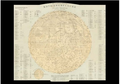 Postcard | Stieler's Hand-Atlas hand coloured map depicts the Moon