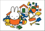 Nijntje Miffy Postcards | Nijntje met speelgoed_